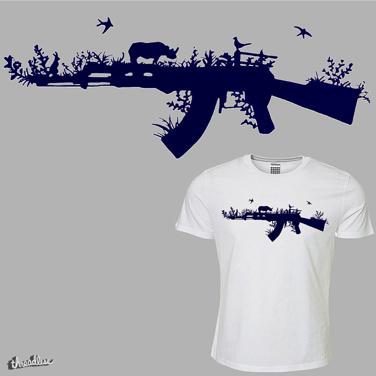 Save the Rhino Gun Illustration by supercooperbrand on Threadless