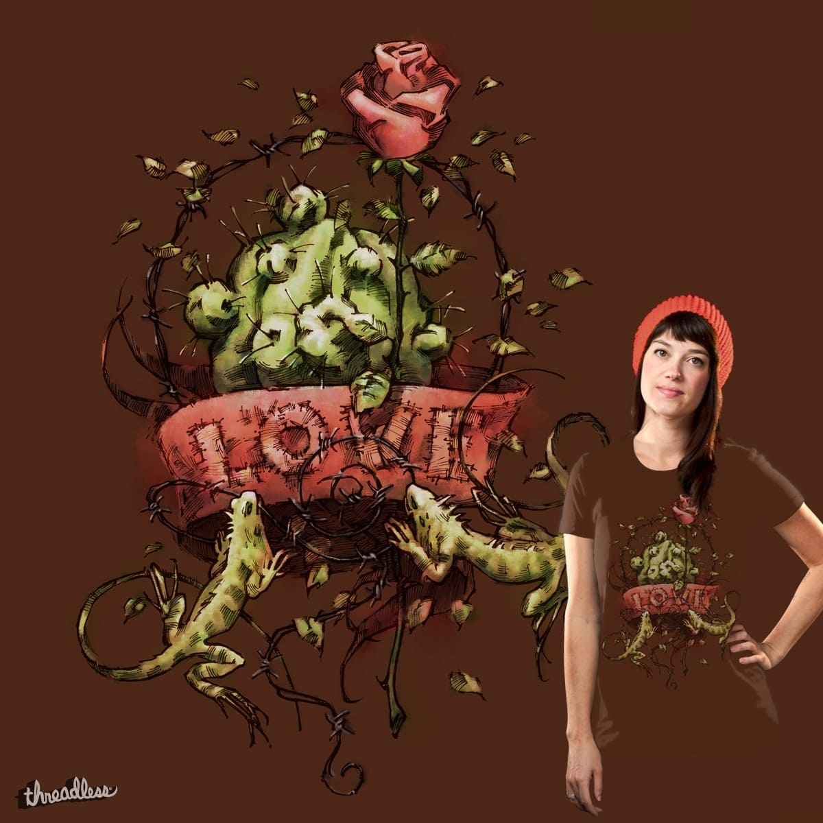 Beauty & The Beast (brown tee) by caxapdesign on Threadless