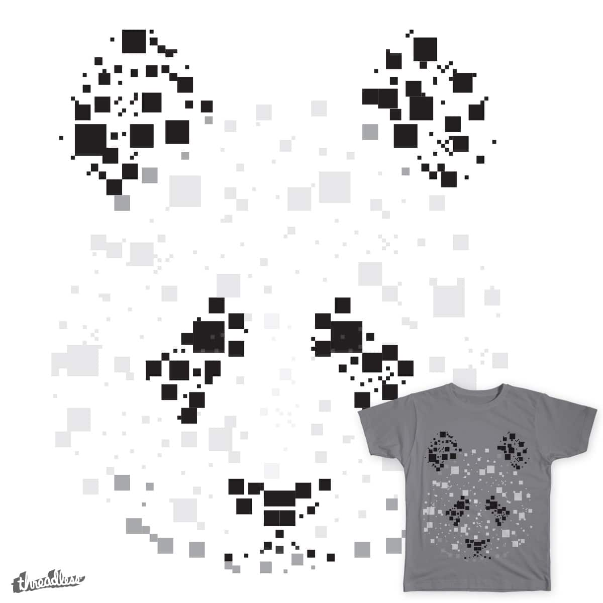 Pixelated Panda by sknny on Threadless