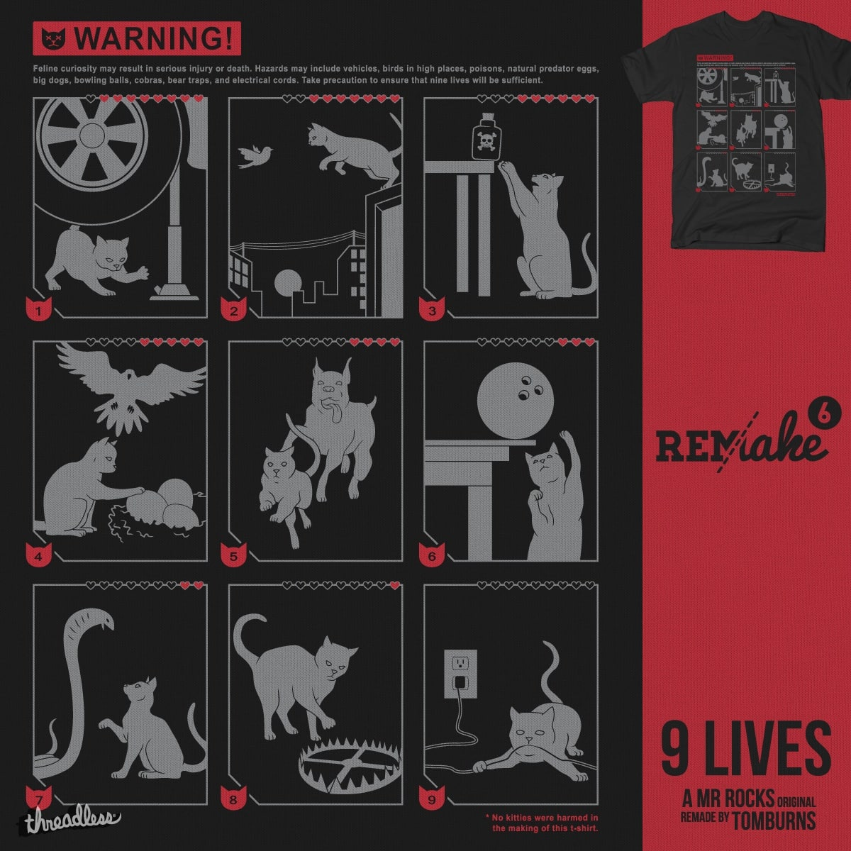 9 LIVES by tomburns and Mr Rocks on Threadless