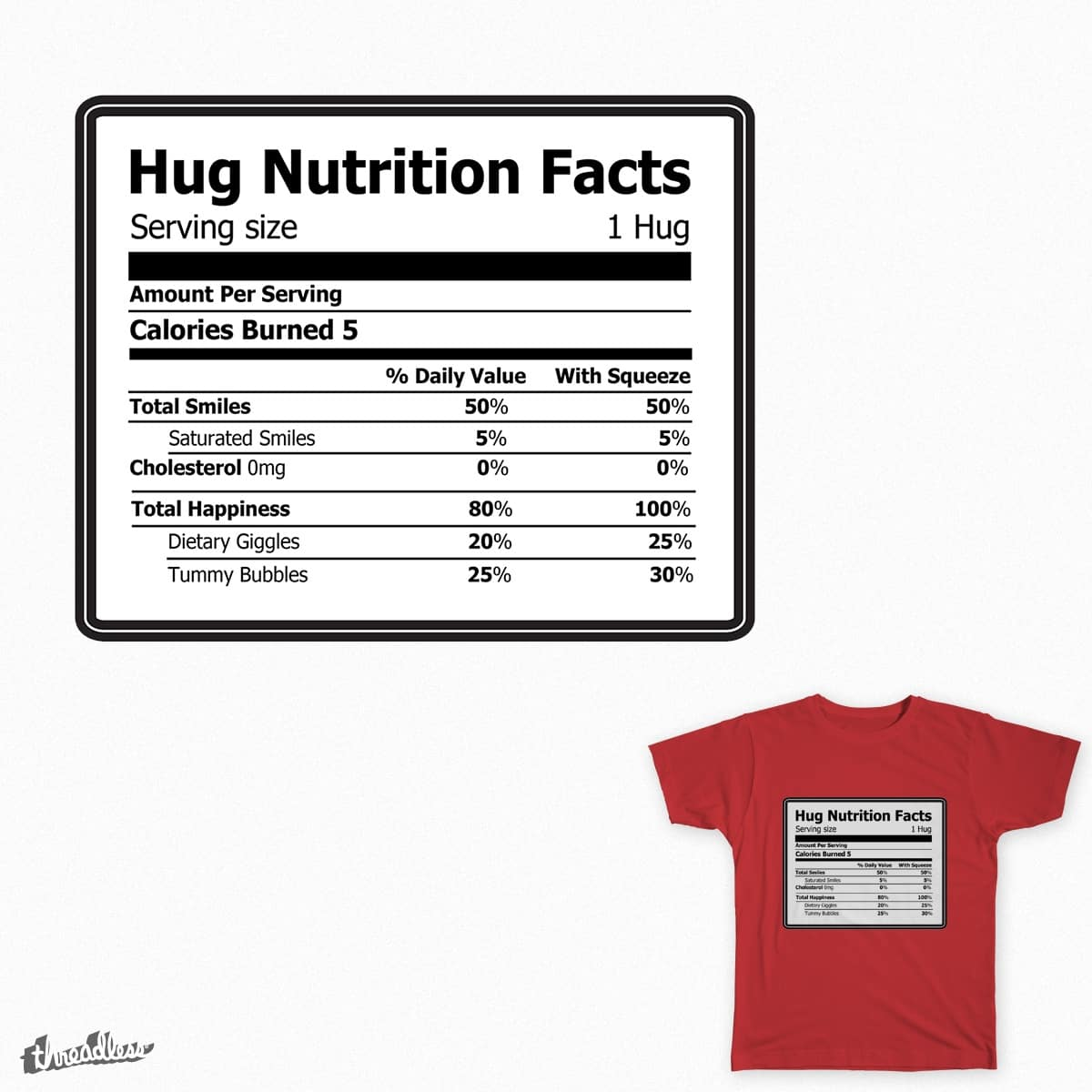 Hug Nutrition Label by OneDesignTwo on Threadless