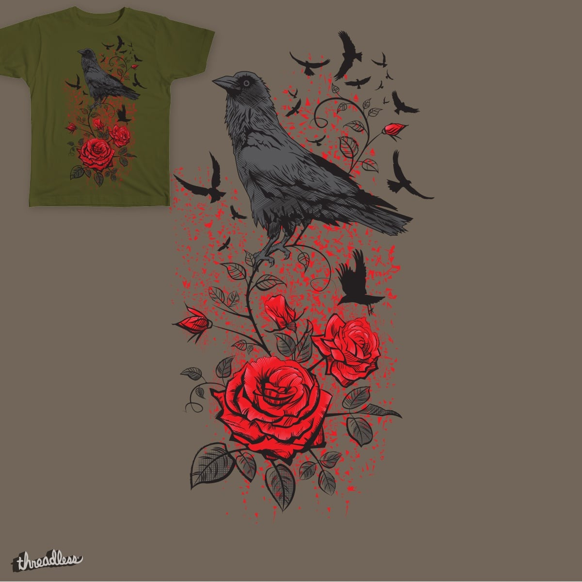 Roses and Ravens by Yurgen on Threadless
