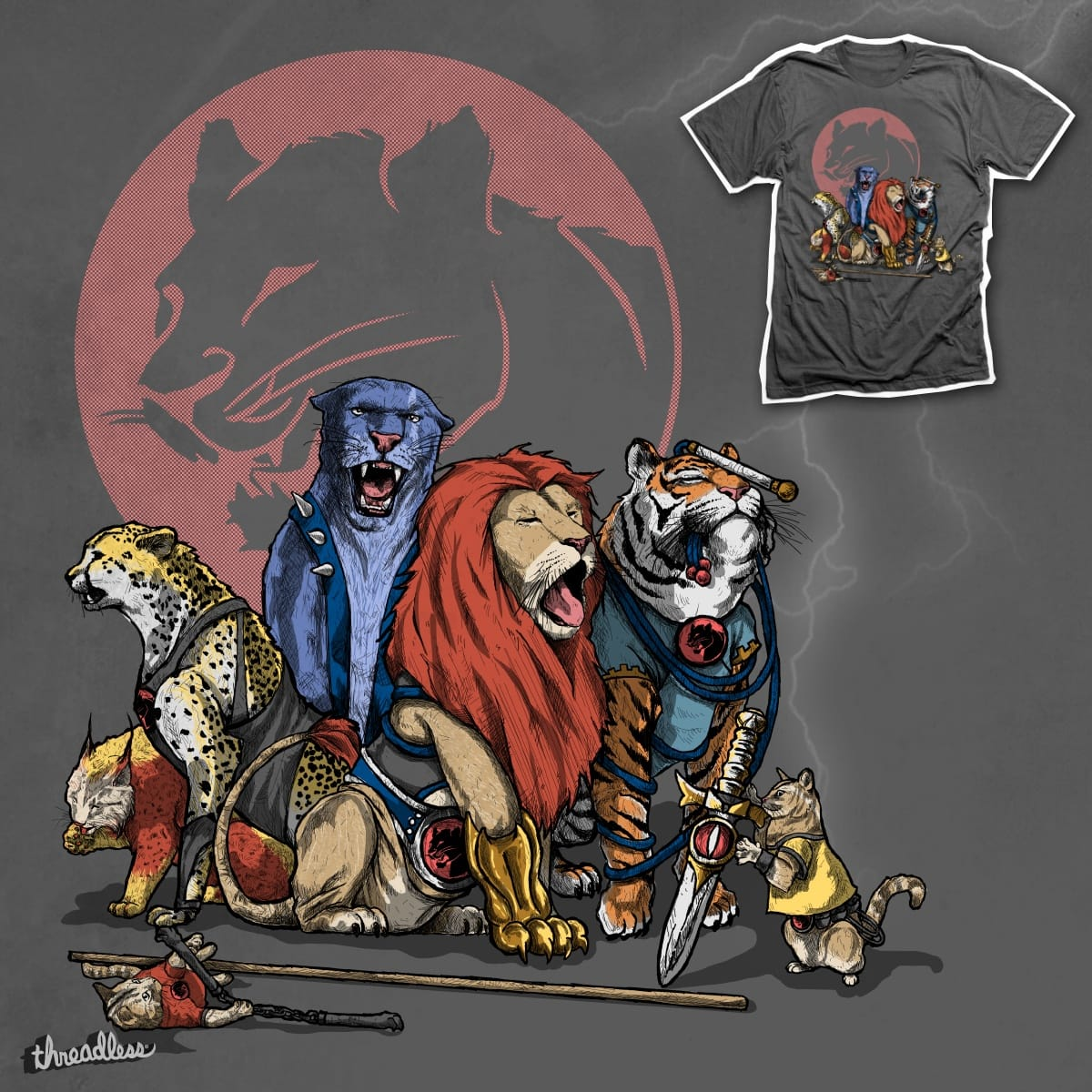 About Thunder and Cats by Marcos Moraes and Sandalo on Threadless