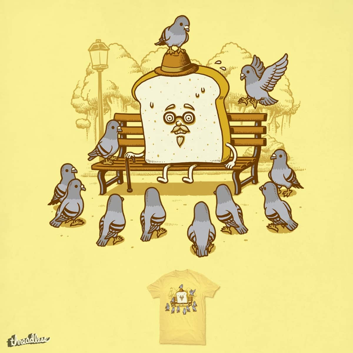 Pigeons And The Bread by ben chen on Threadless