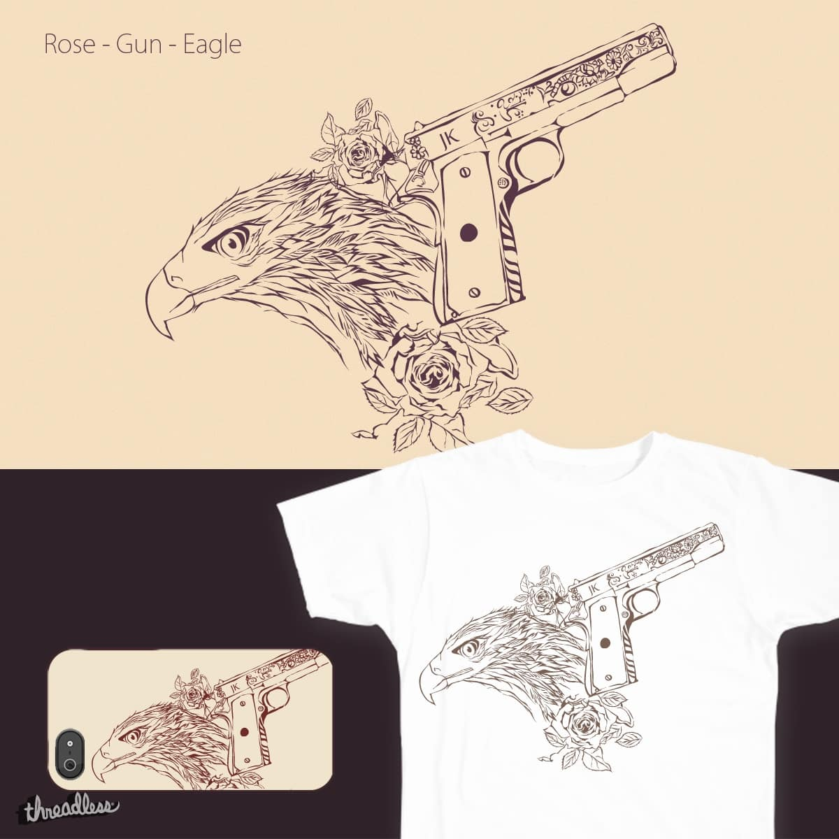 Rose - Gun - Eagle by JKMayer on Threadless