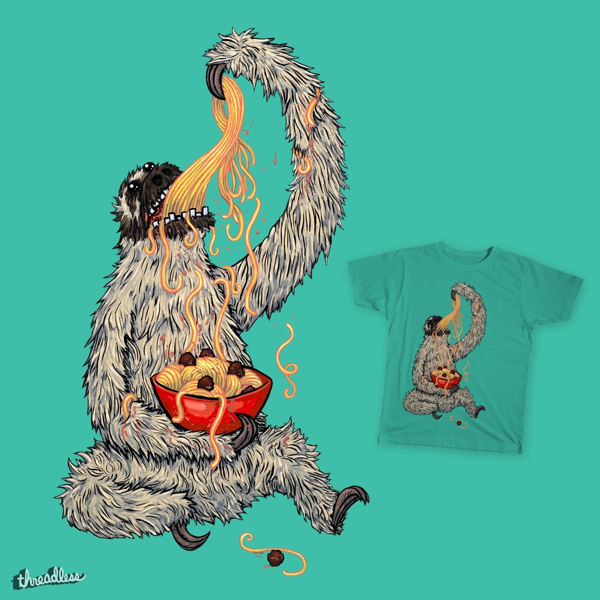 Sloth Eating Spaghetti! by joehavasy on Threadless