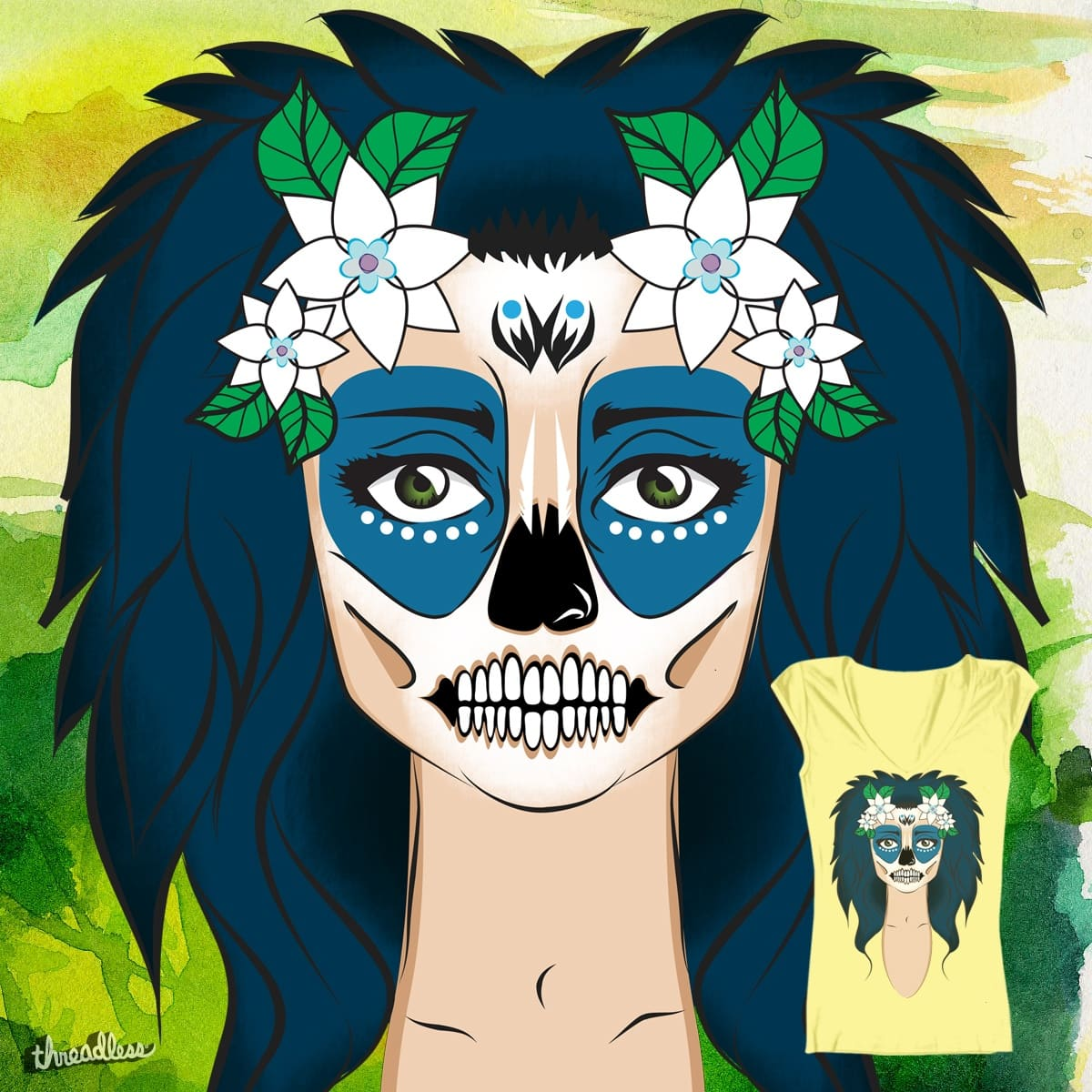 Sugar Skull Girl Sea by roro.did.onna on Threadless