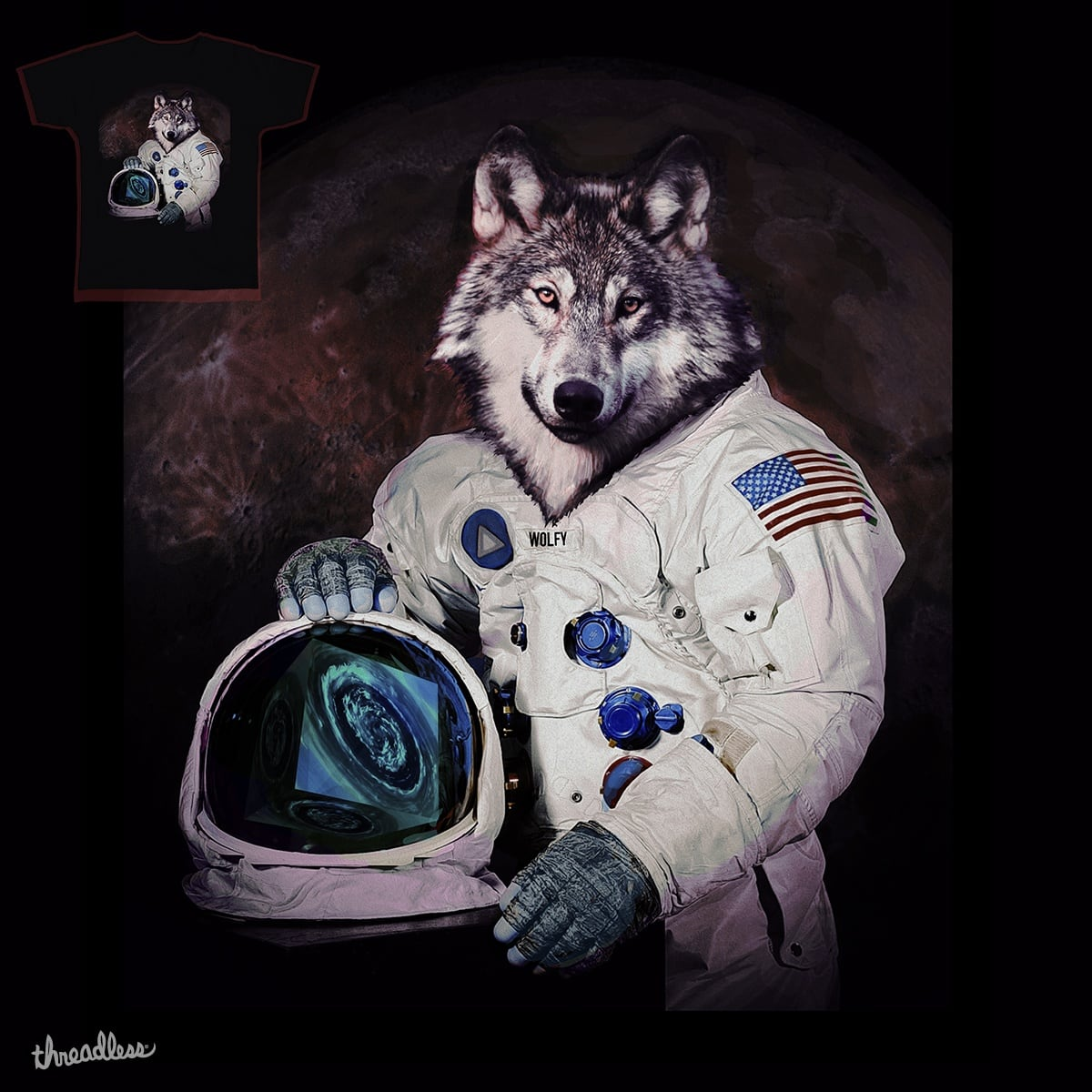 Wolfy Goes to Mars by Thomas Orrow on Threadless