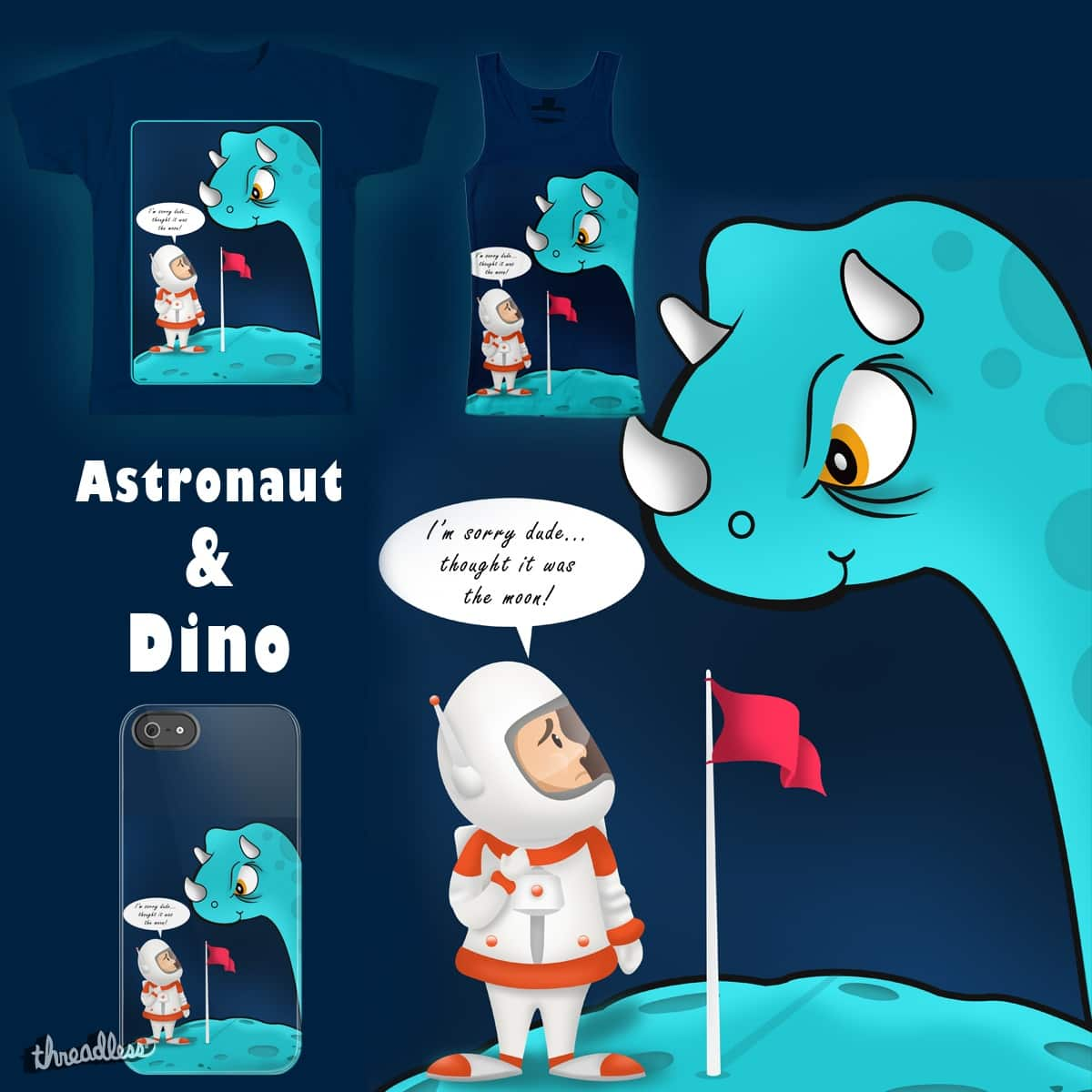 Astronaut & Dino by VishwaCool on Threadless