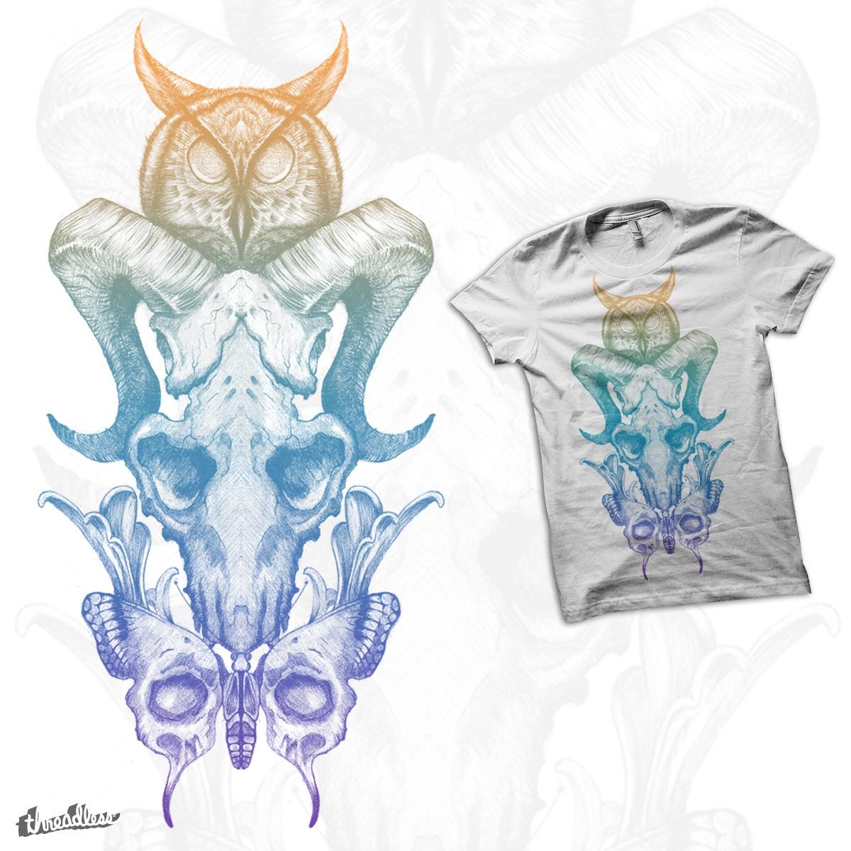 Owl & Skulls by oscarconejeros on Threadless
