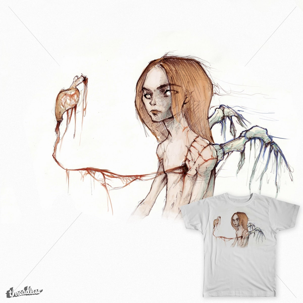 Angel of floating heart by yuval.hermon on Threadless