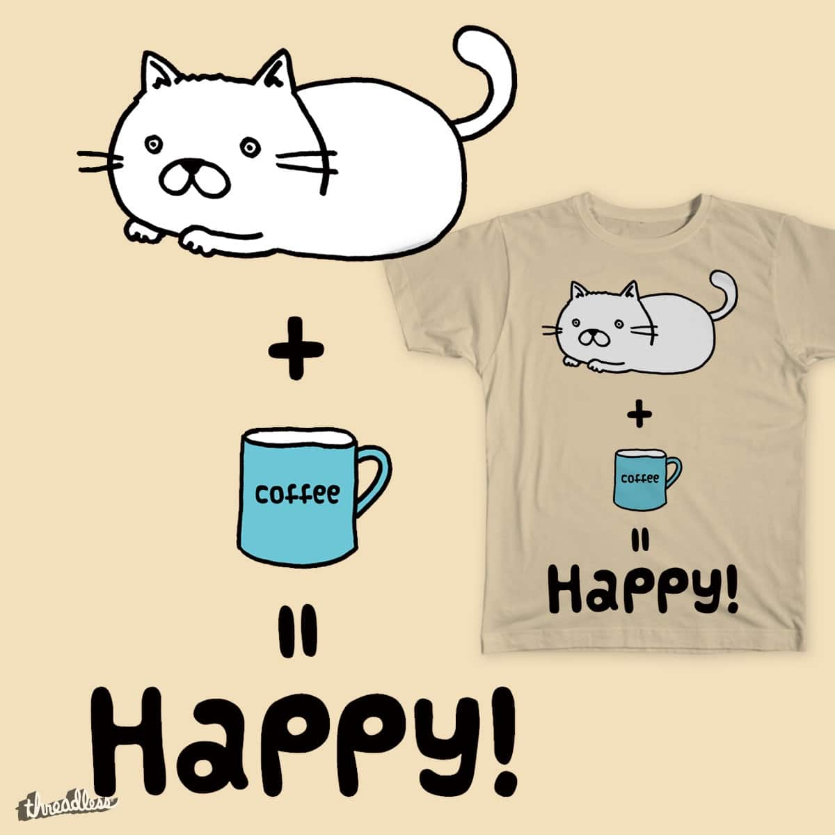 happy kitty with coffee by KaoriSakata on Threadless