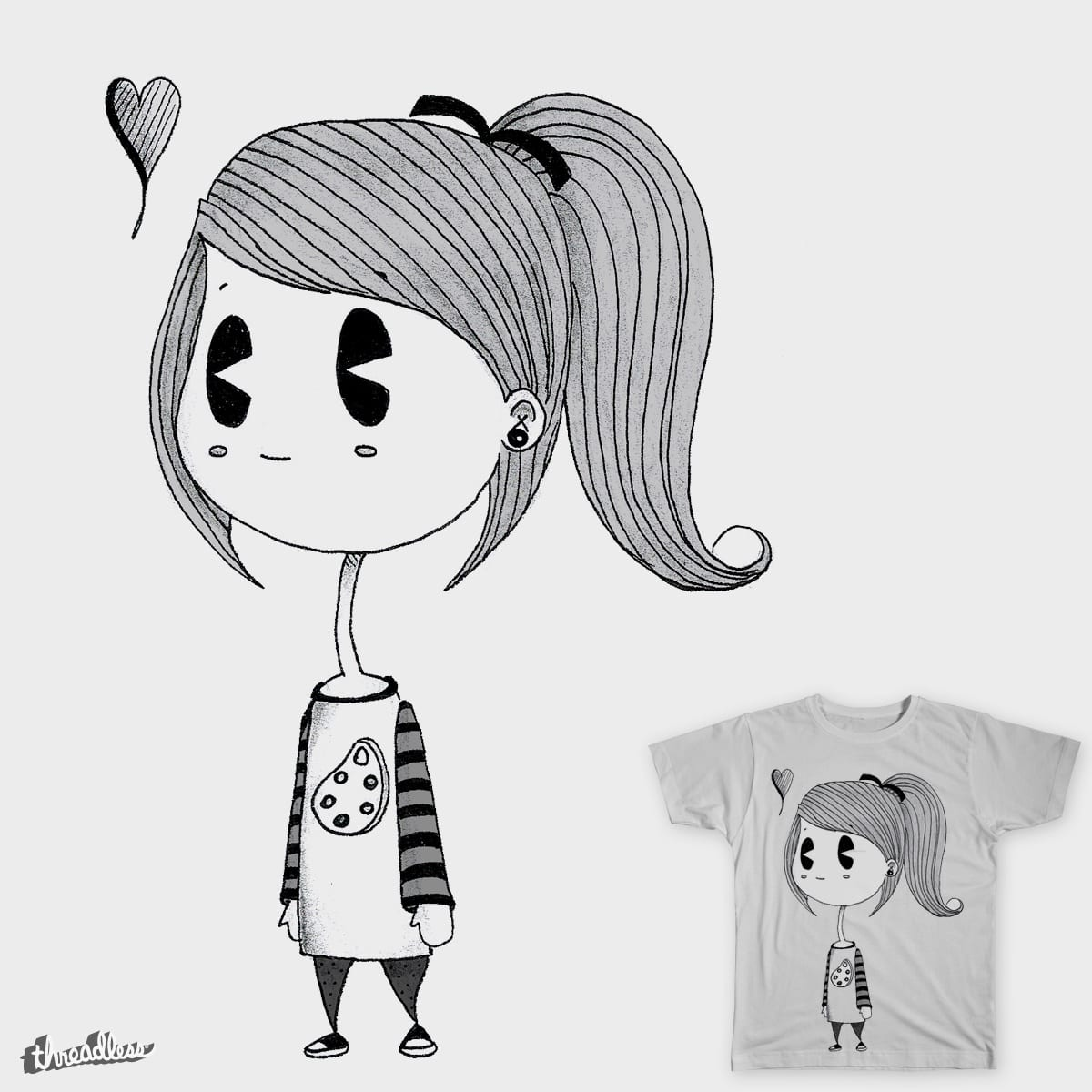 Art Girl without Colors by tatimuniz on Threadless