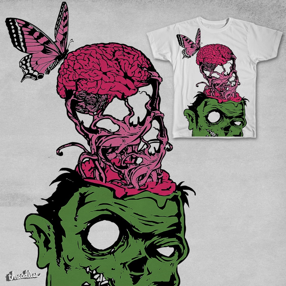 The Brain, The Butterfly and The Zombie by galaxymonkey on Threadless