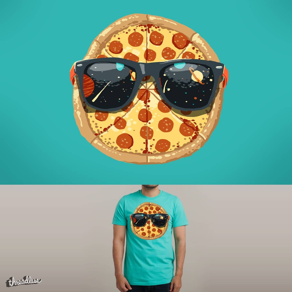 Cool Pizza (in Space) by fightstacy on Threadless