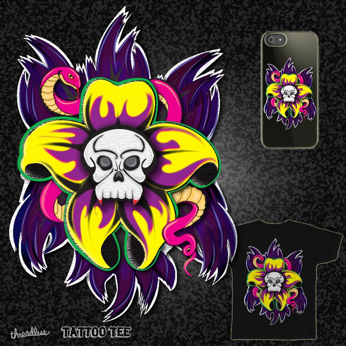 Skull Flower by rainbowhealingspirit on Threadless