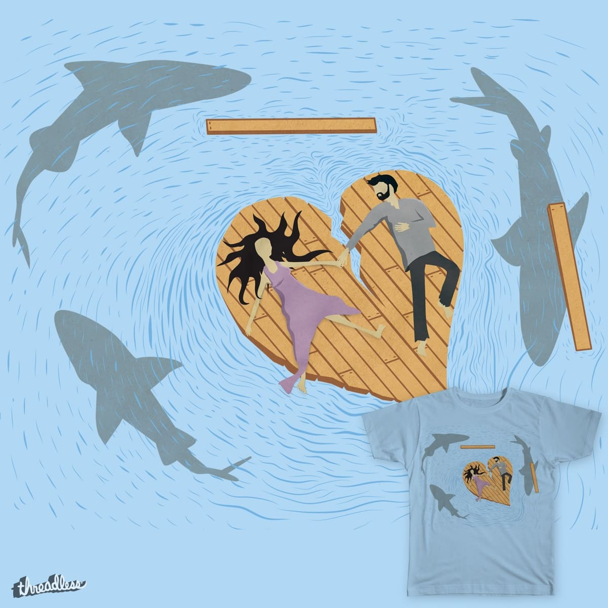 Love Will Tear Us Apart. Actually, Sharks Will. by Caustic Soda on Threadless