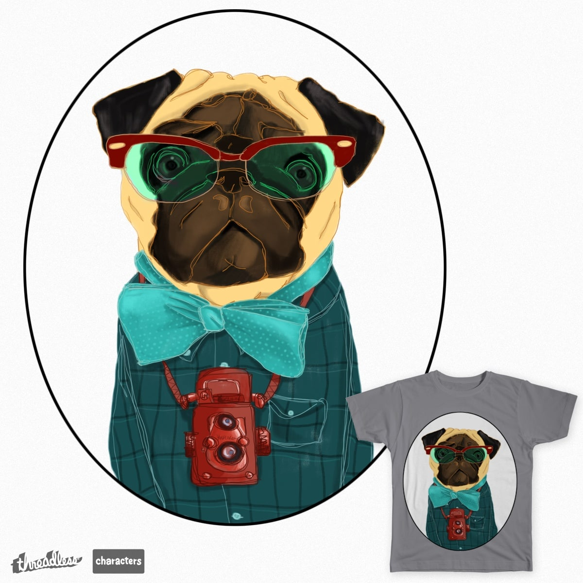 Hipster Pug by Parin on Threadless