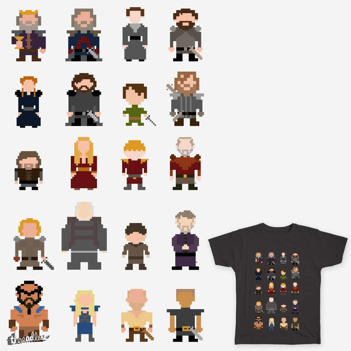 Pixeled Game Of Thrones by HeyLex on Threadless