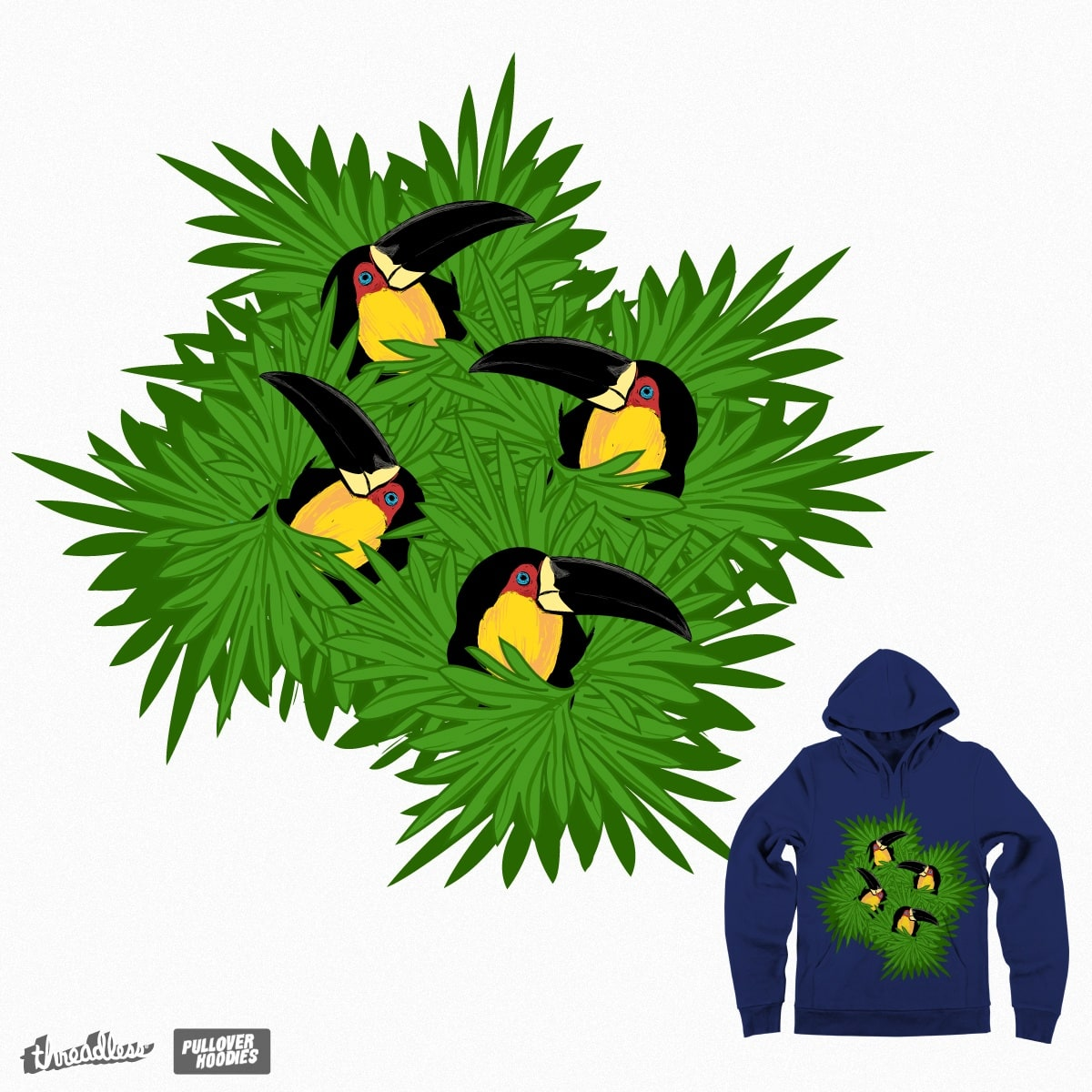 toucans in the green palms fronds by MELMARI on Threadless
