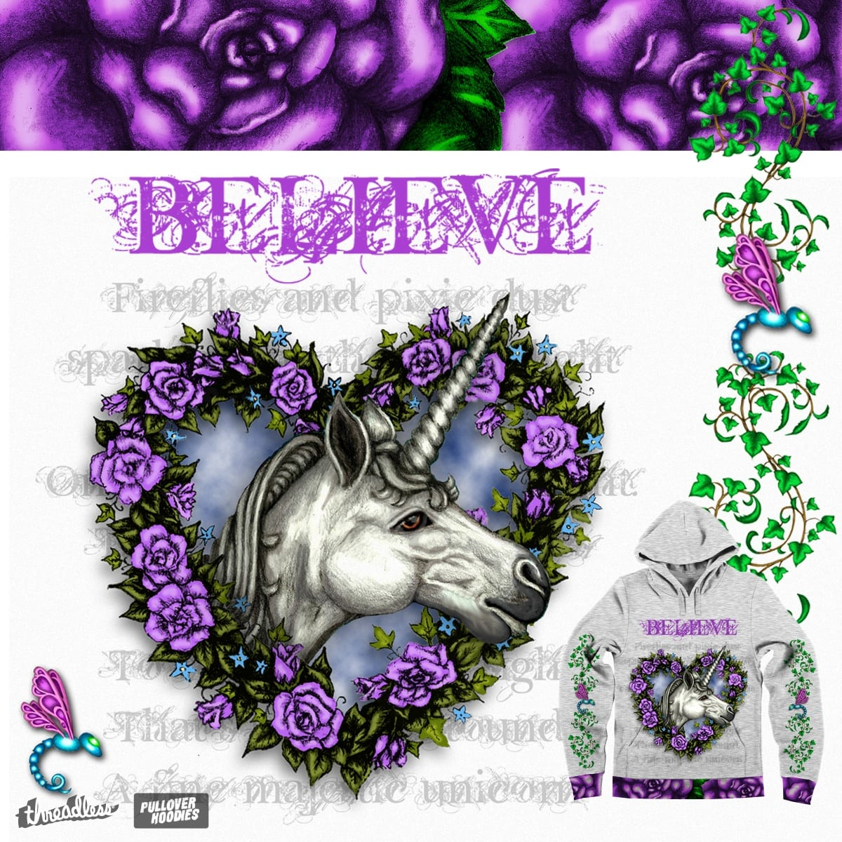 The White Unicorn by tasillustration on Threadless