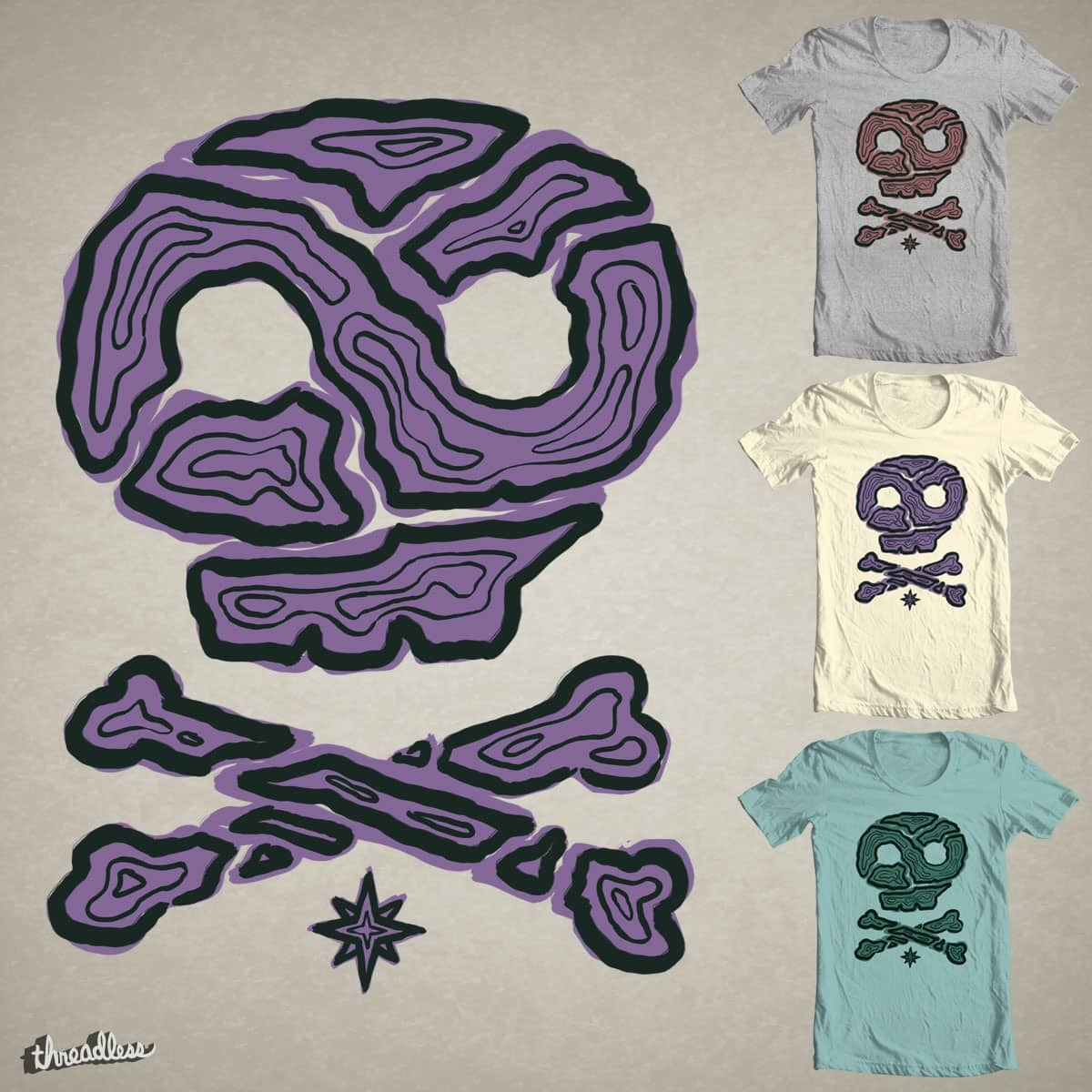 Contour Skull - V2 by P0ckets on Threadless
