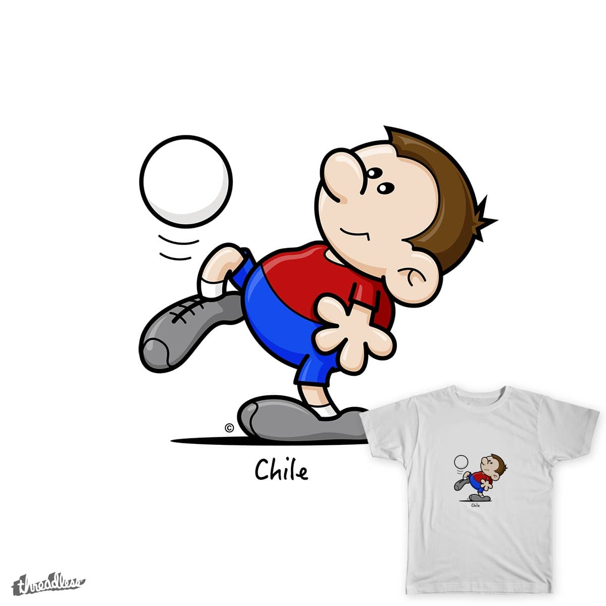 2014 World Cup Cartoons - Chile by spaghettiarts on Threadless