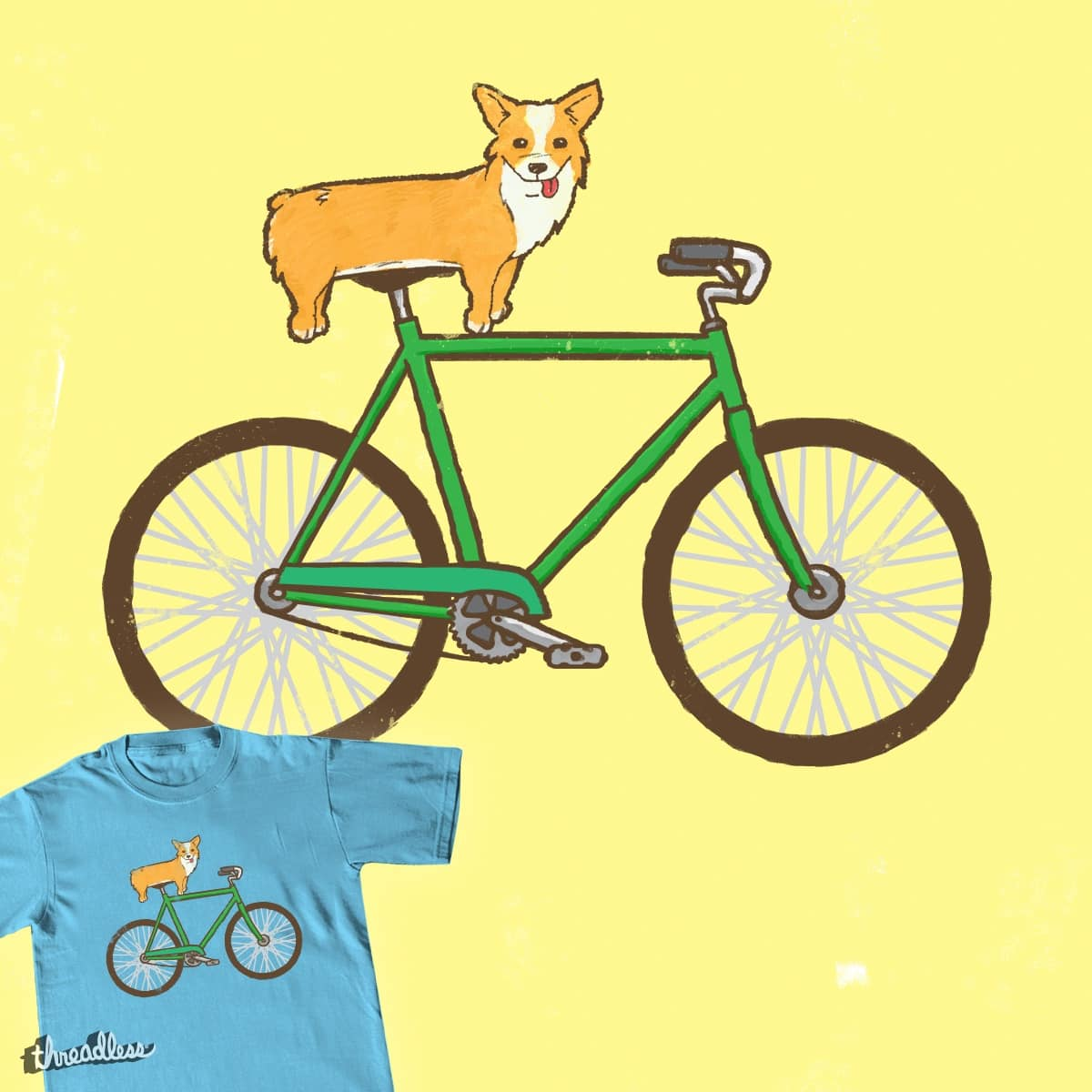 Corgi on a bike by speedyjvw on Threadless