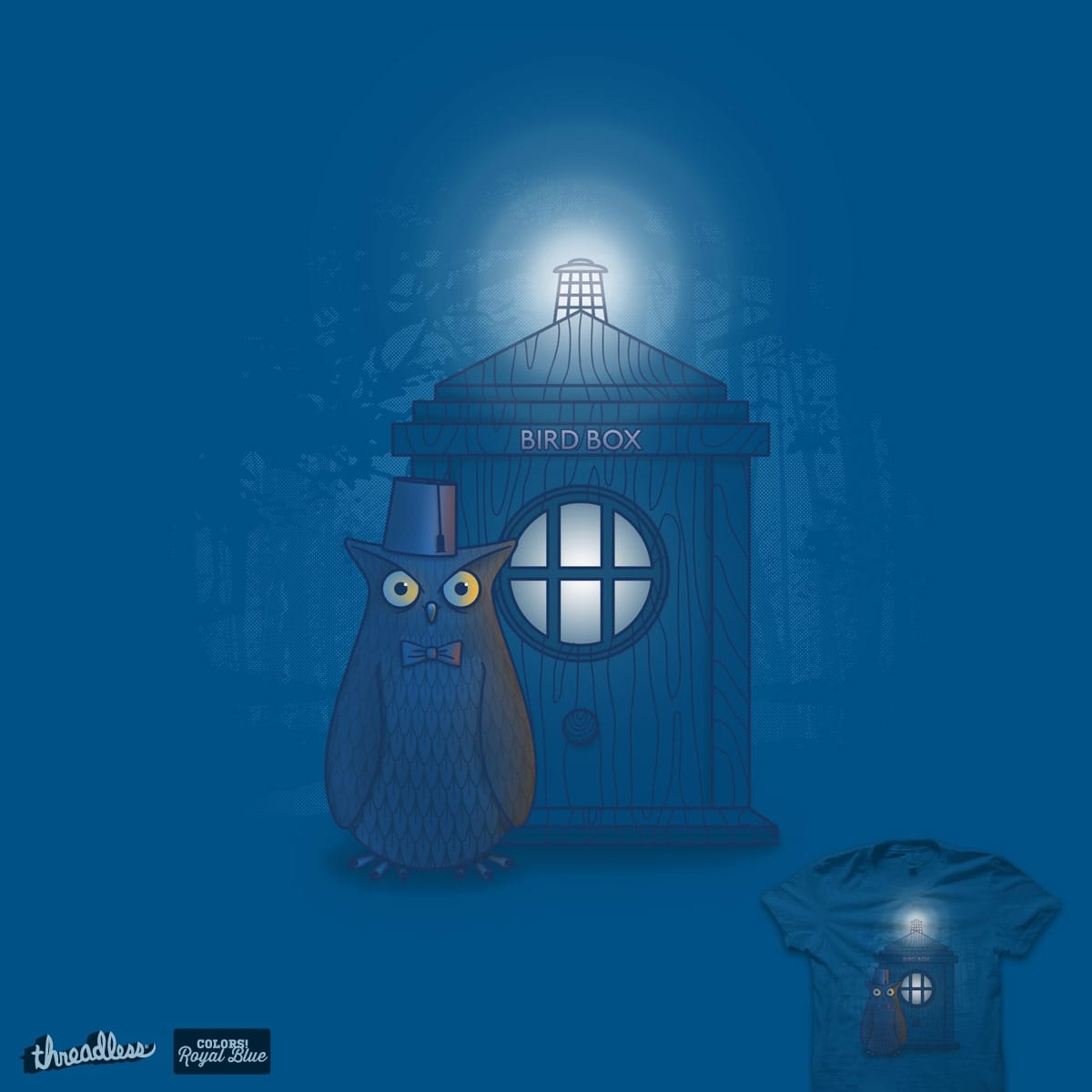 The Owl & The Big Blue Box by quick-brown-fox on Threadless