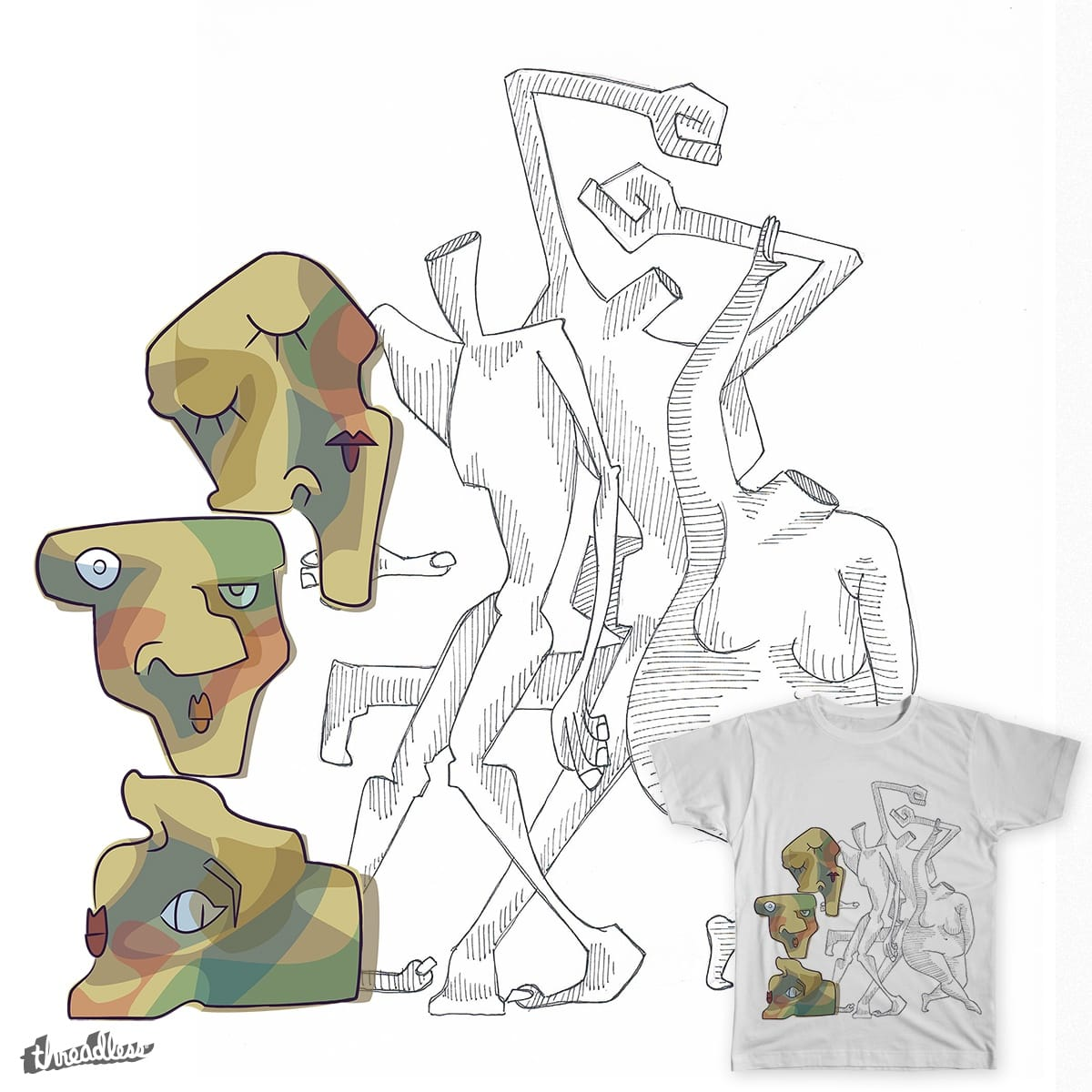 Three Heads by Mqnzai on Threadless