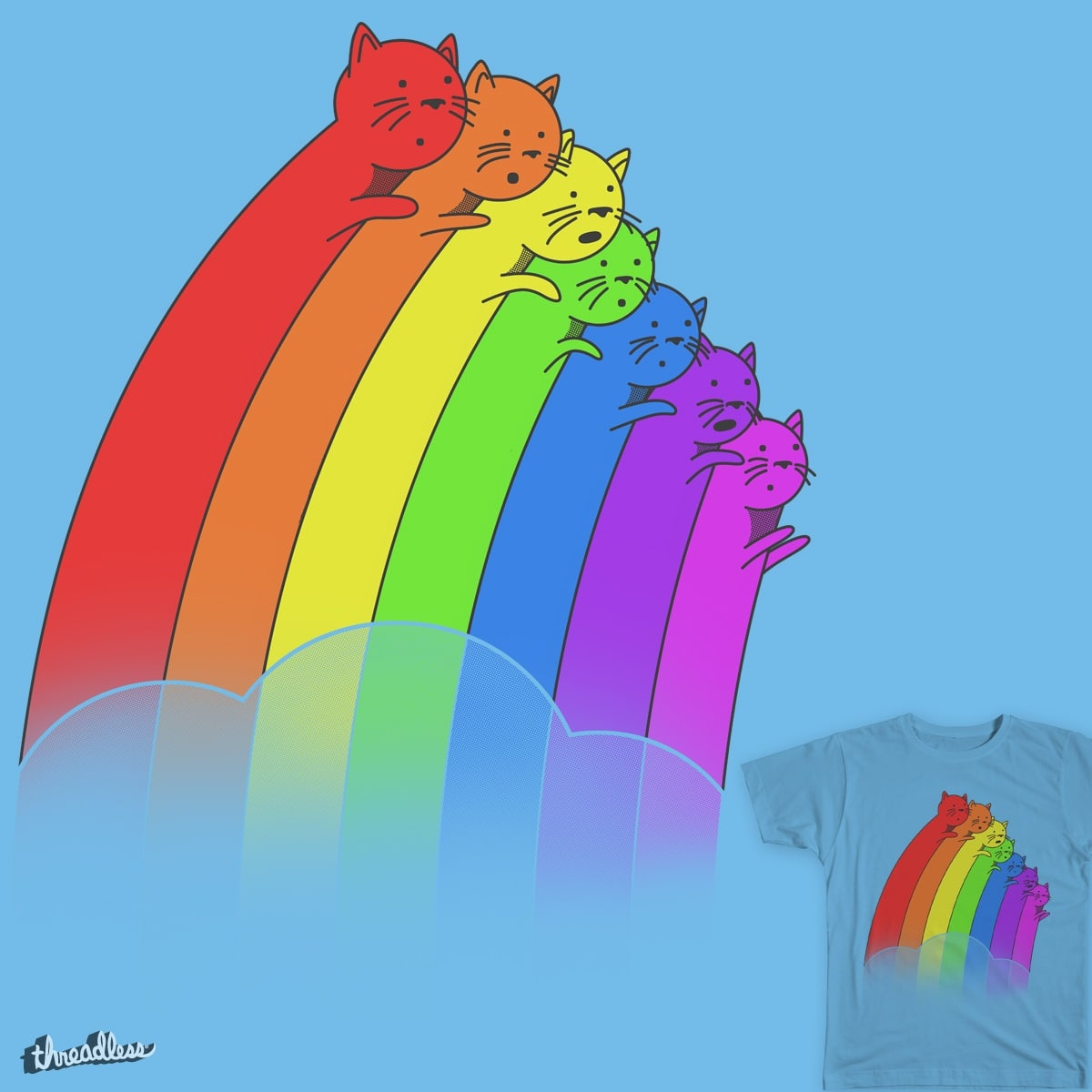 Rainbow Cats by benk_ing on Threadless