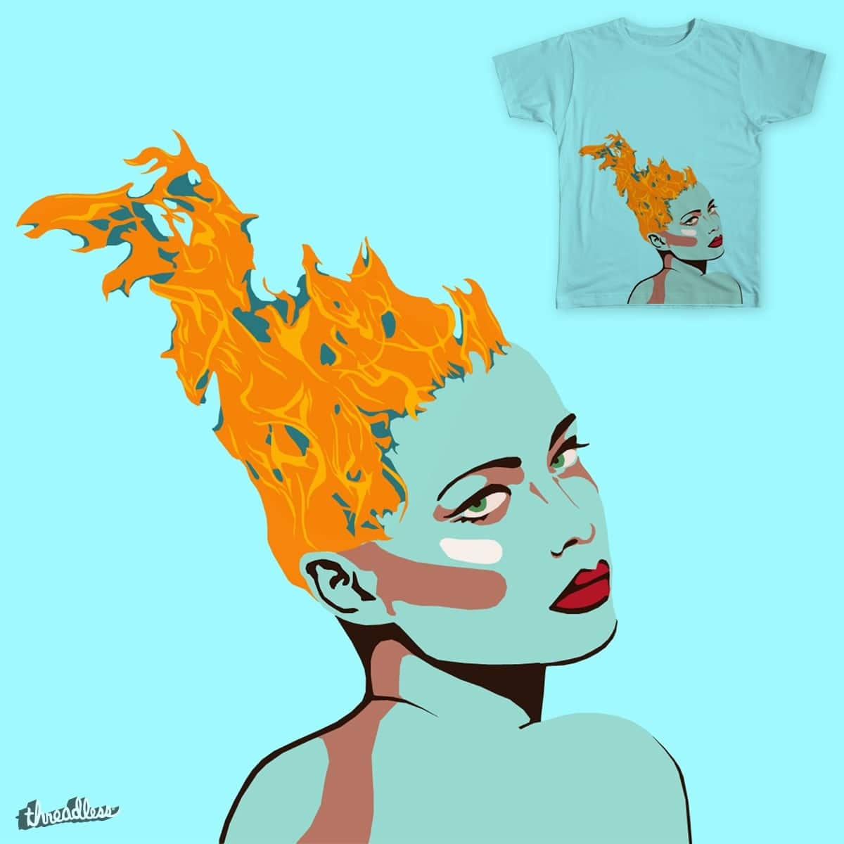 Flame headed girl by FloraNPaterson on Threadless