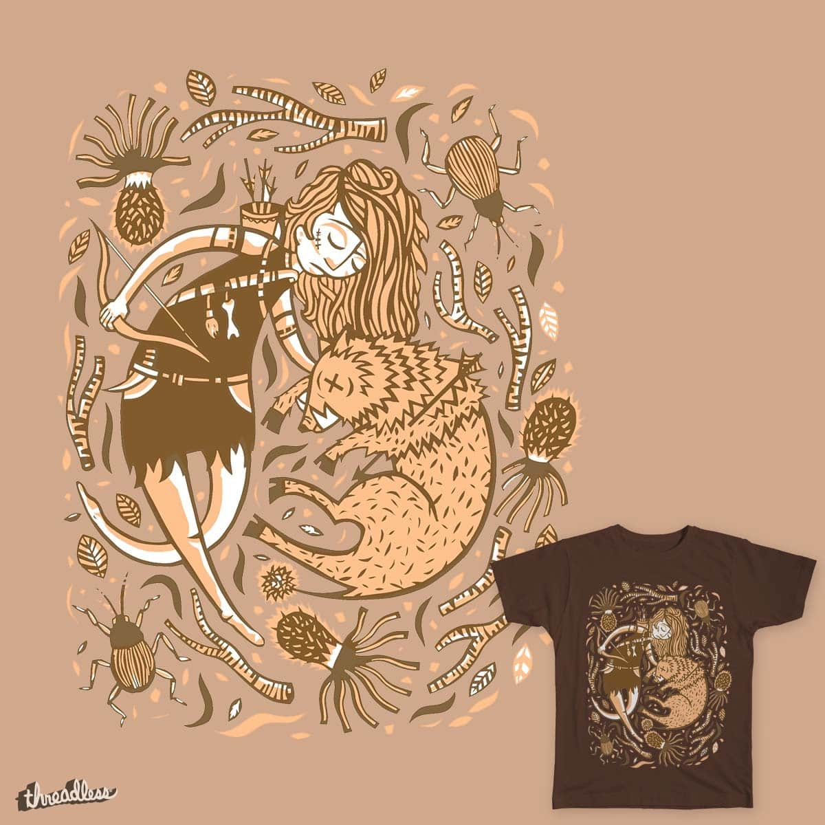 Huntress and the Boar by tbrault on Threadless
