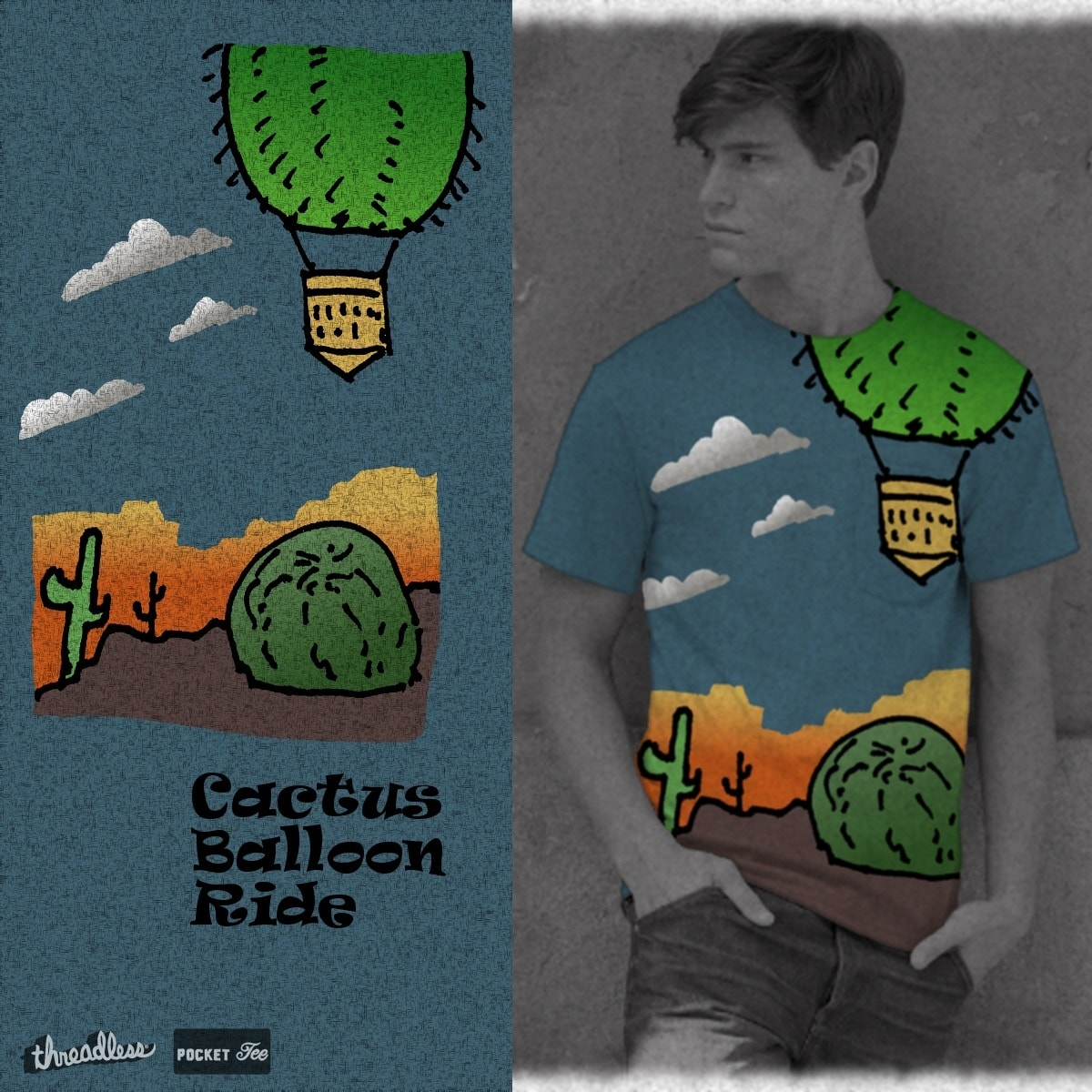 Cactus Balloon Ride by madmade on Threadless