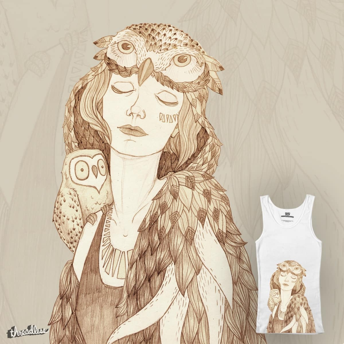 Girl and owl by heda on Threadless