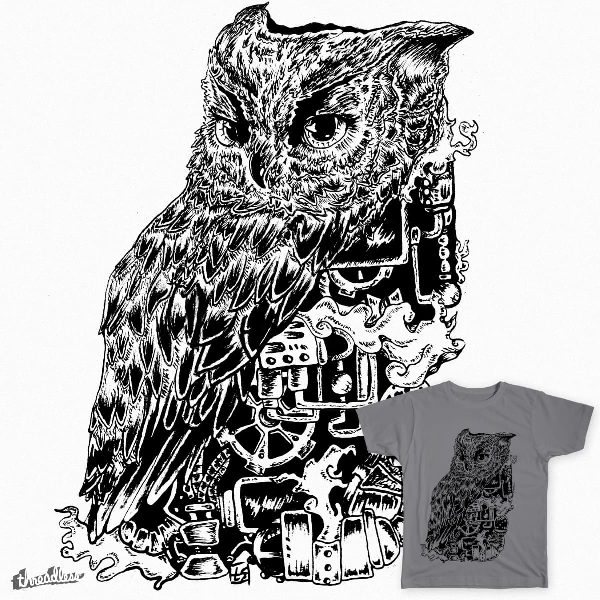 Inked Up Owl Hoodie by cupofmoriartea on Threadless