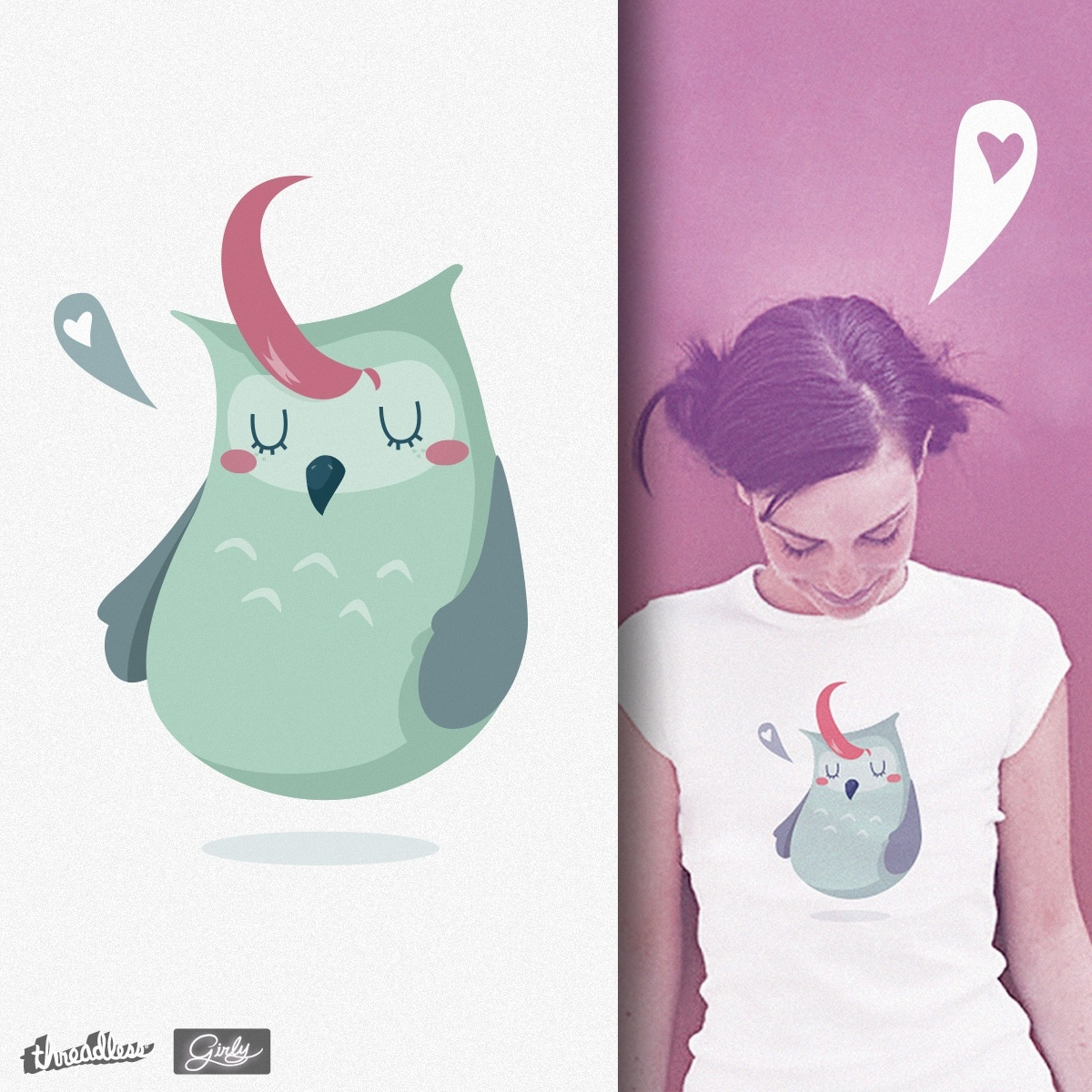 Owl in love by chiara_zava on Threadless