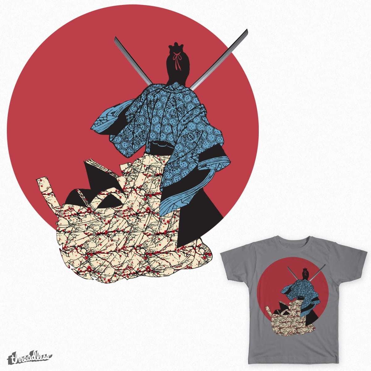 Dual Wielding Samurai by fatmofos on Threadless