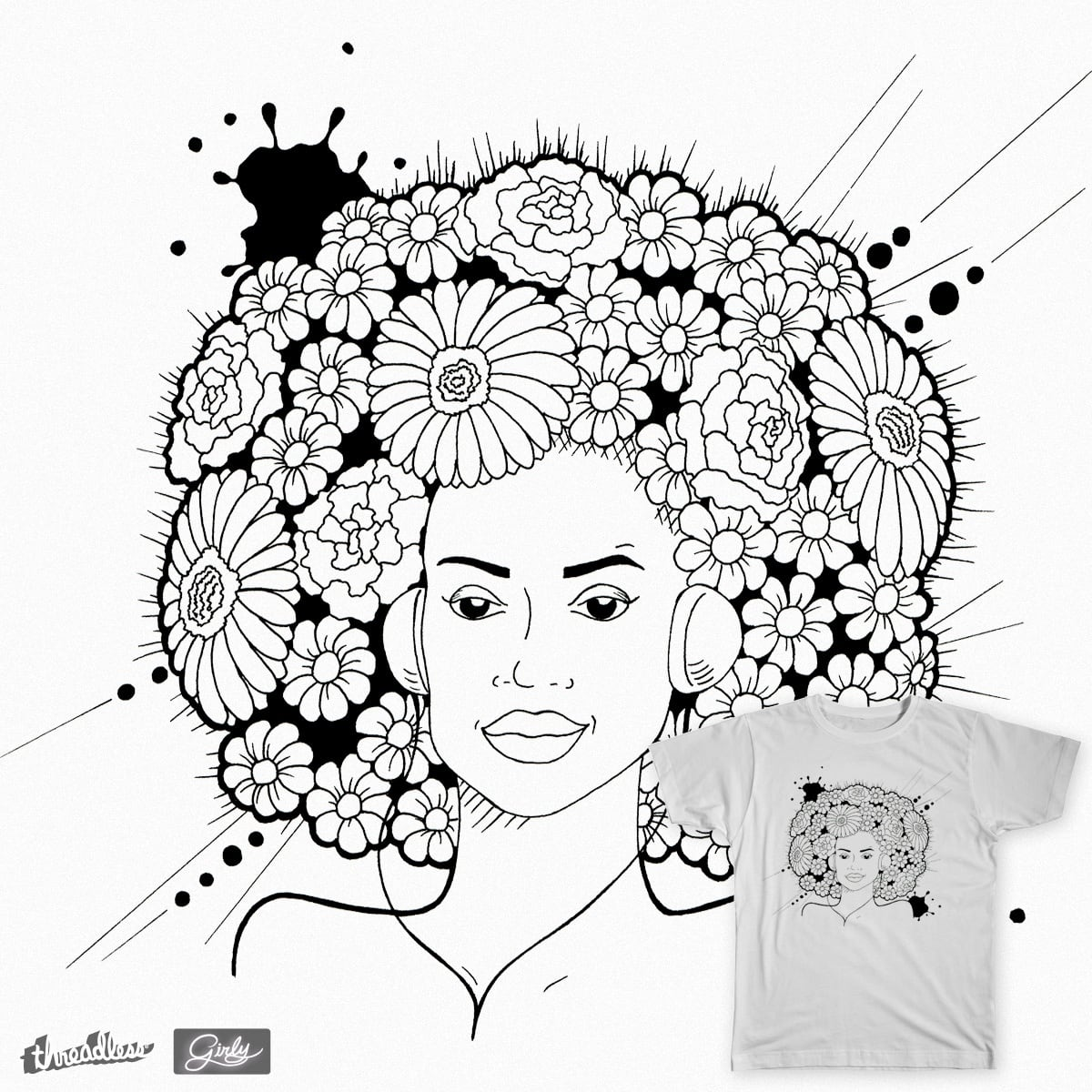 Girl and flowers by sunny.margaret on Threadless