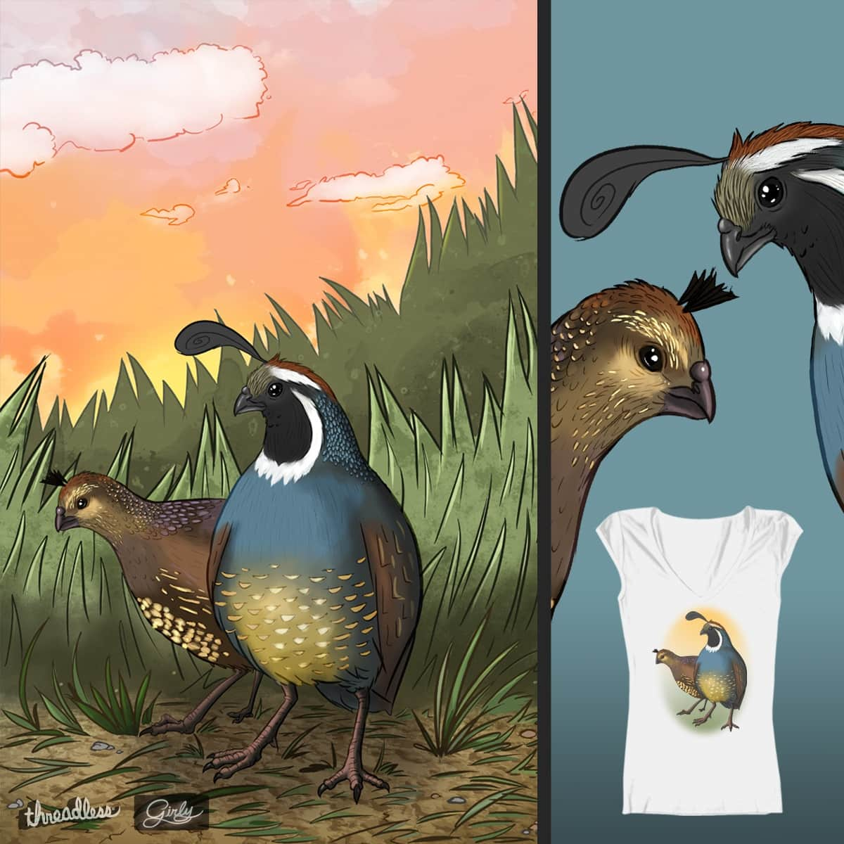 Two Quail by timothy Jones on Threadless