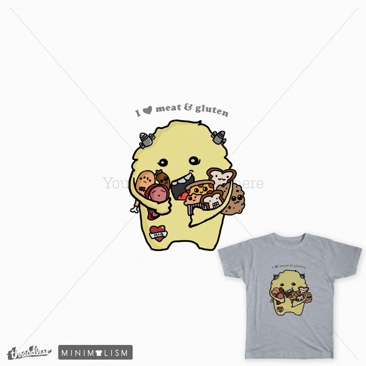 I Heart Meat and Gluten by piko_tan on Threadless