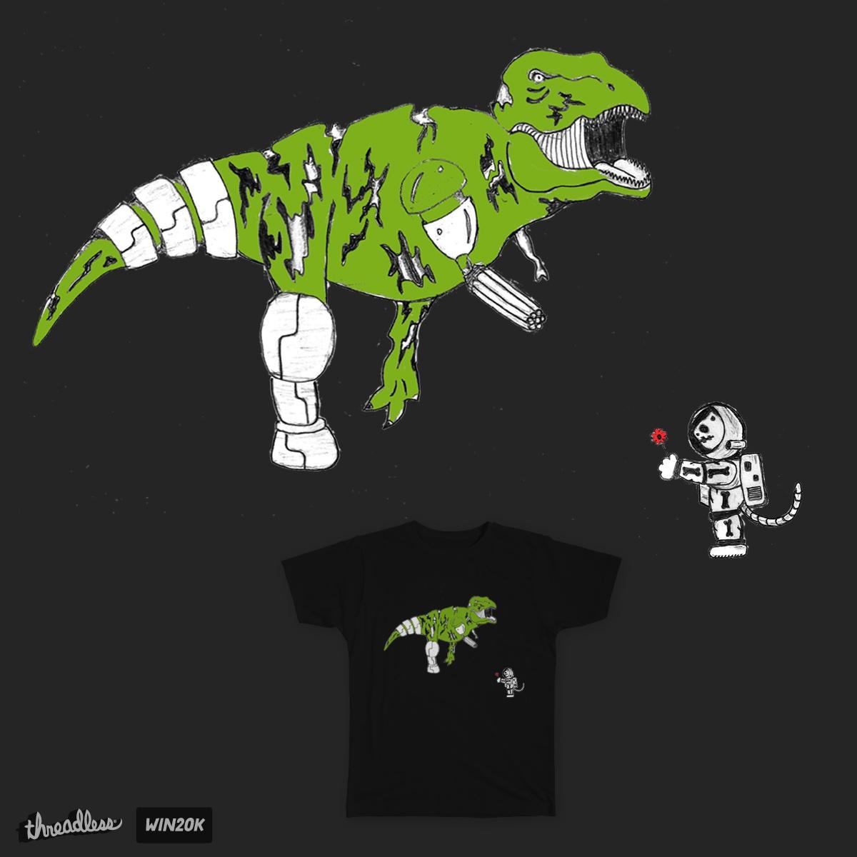 Cyborg Zombie T-Rex vs. Astro Skeleton Kitty by TRYBYK on Threadless