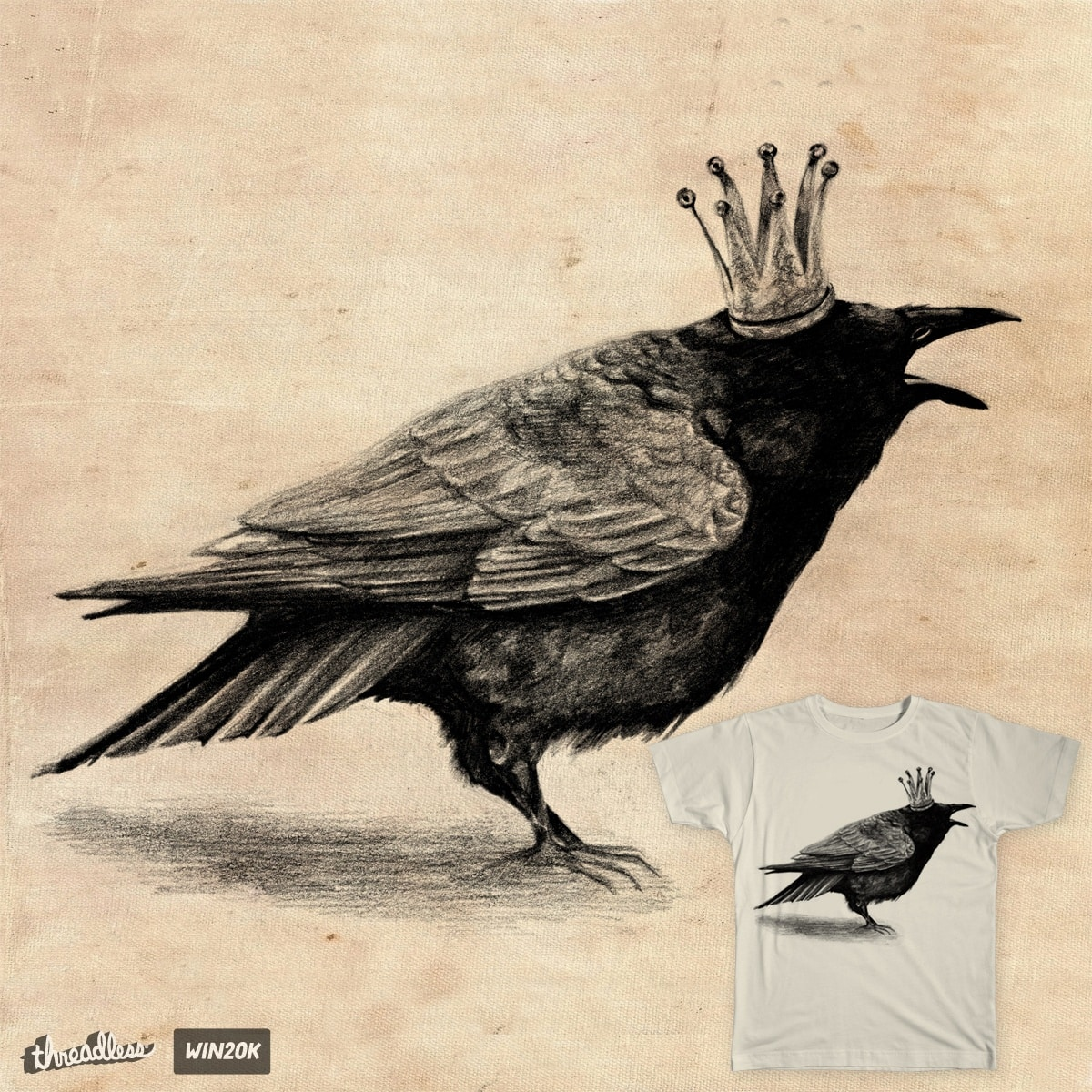 Crow in crown by AnnaShell on Threadless