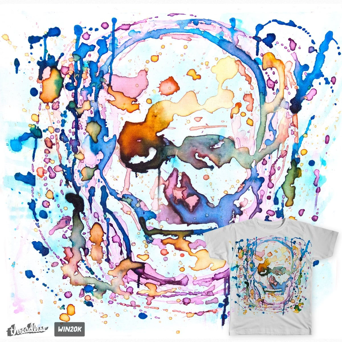 Splatter Skull by zacadkins on Threadless