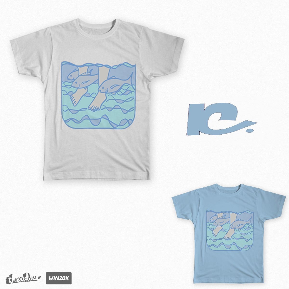 Wading with the fishes by Kettleheadmex on Threadless