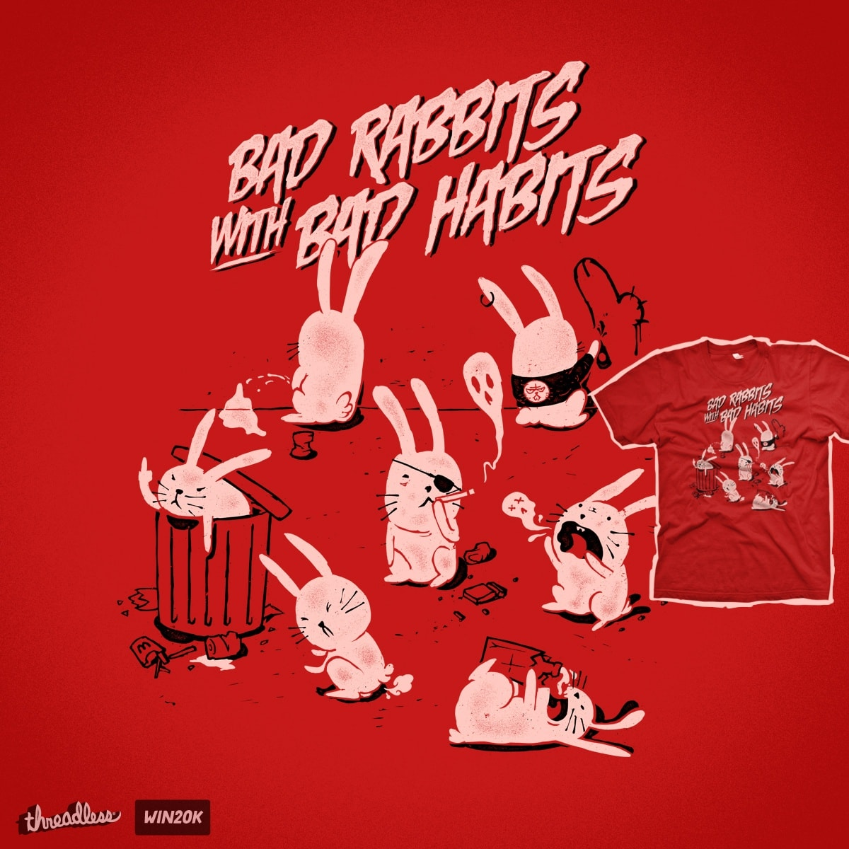 Bad rabbits with bad habits by mathiole on Threadless