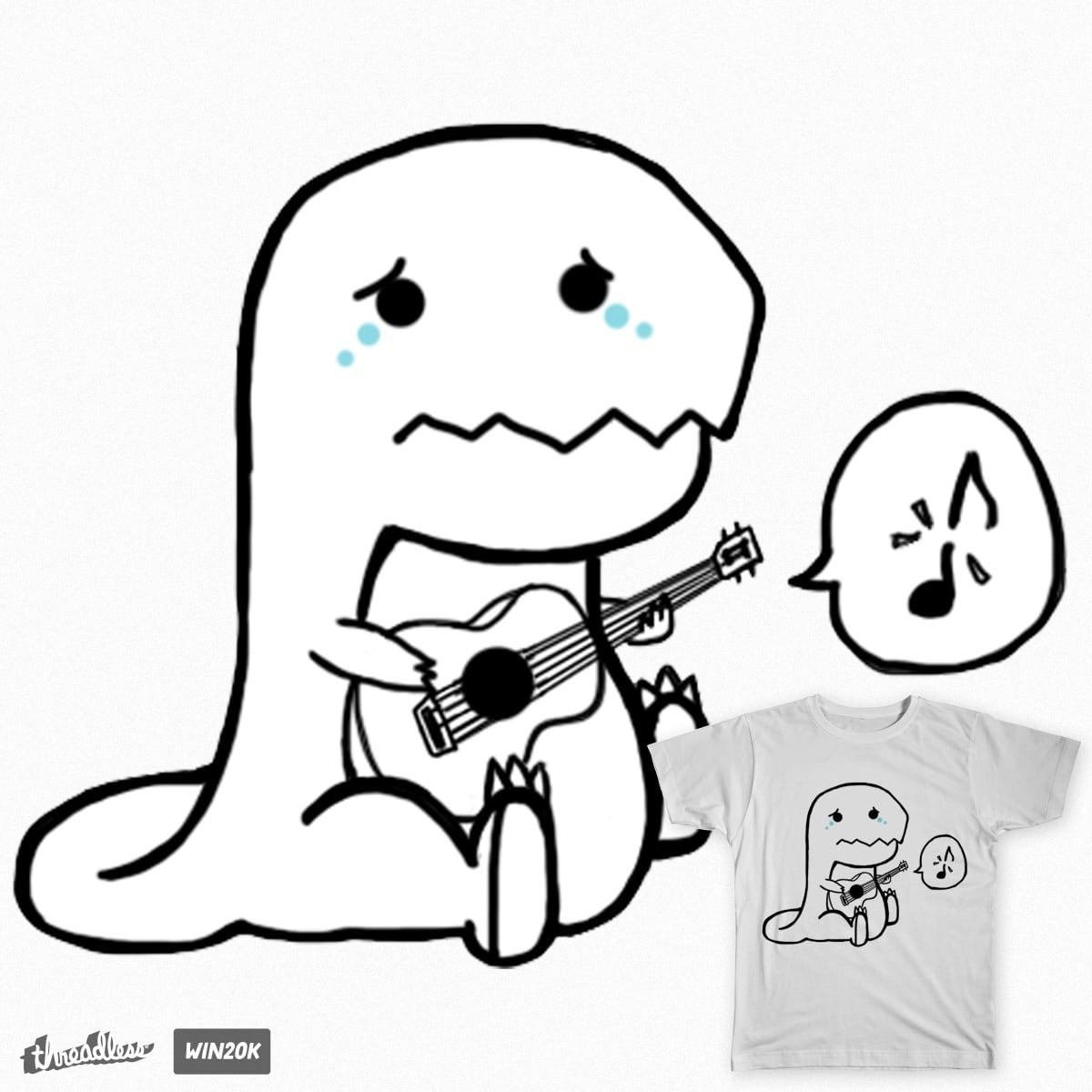 The Dinosaur Who Can't Play The Guitar by holkers on Threadless