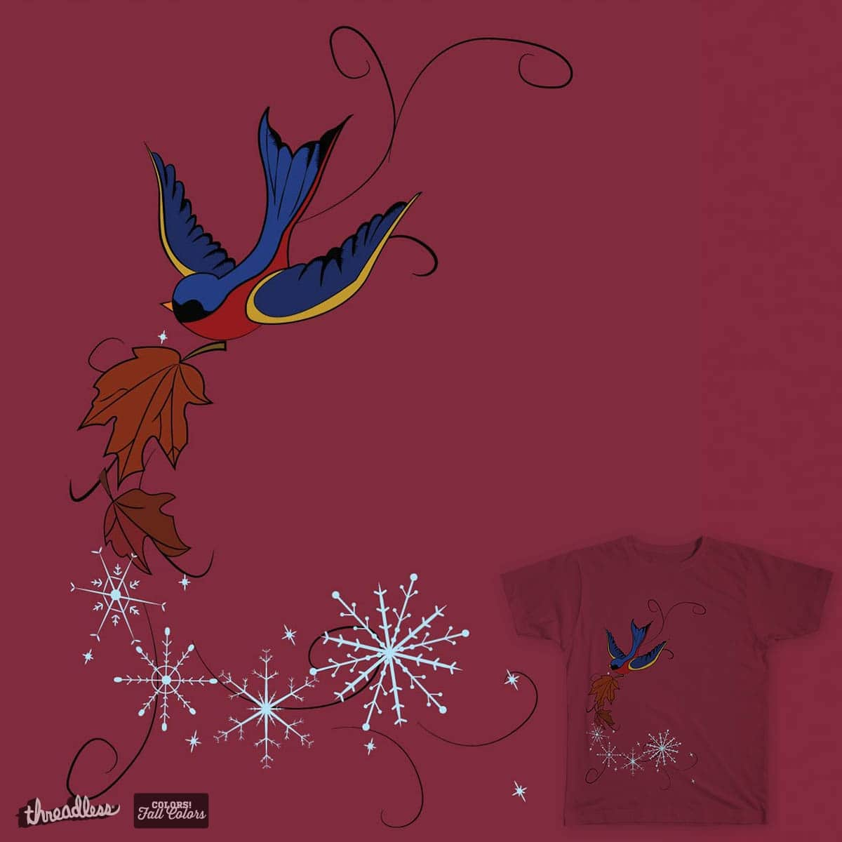 Swallow and snowflake by 2215 on Threadless