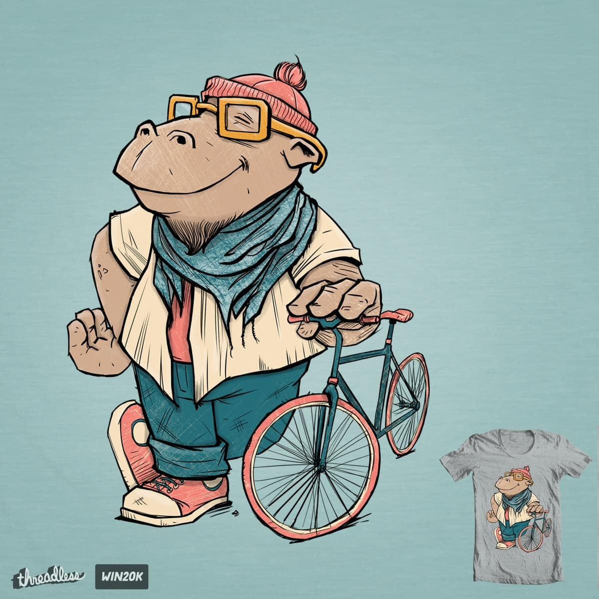 Hipster Hippo by BlancaJP and greyzenz on Threadless