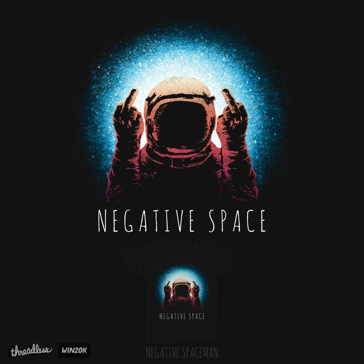 Negative Spaceman, a cool t-shirt by danielteres on Threadless